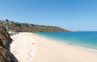 Carbis Bay beach on the outskirts of St Ives in West Cornwall