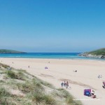 Sunny day on Crantock Beach near Newquay in Cornwall