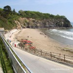 Slipway leading to Porthpean beach near St Austell in Cornwall