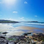 View looking over Polzeath beach in North Cornwall