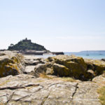 Views of St Michael's Mount from Marazion beach near Penzance in West Cornwall