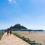 Low tide causeway to St Michael's Mount from Marazion Beach in West Cornwall