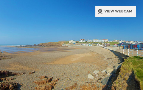 View live webcam of Crooklets beach in Bude North Cornwall