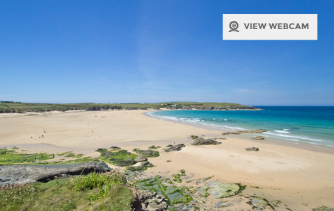 View live webcam of Harlyn Bay Beach in Bude North Cornwall