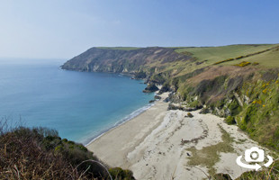 Lantic Bay beach near Fowey in South East Cornwall