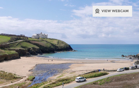 View live webcam of Poldhu Cove beach on the Lizard Peninsula in West Cornwall