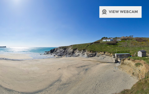View live webcam of Polurrian Bay on the Lizard Peninsula in West Cornwall