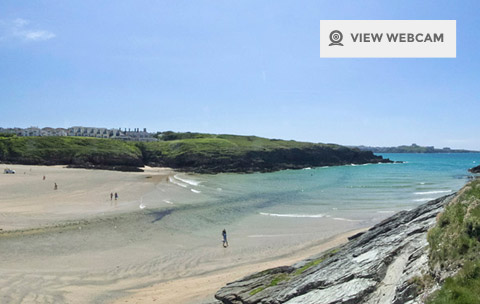 View live webcam of Porth beach in Newquay Cornwall