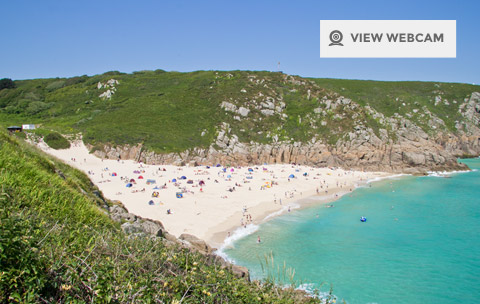 View live webcam of Porthcurno Beach and Minack theatre in West Cornwall