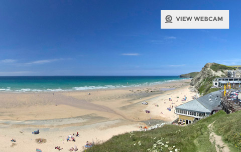 View live webcam of Watergate Bay beach near Newquay Cornwall