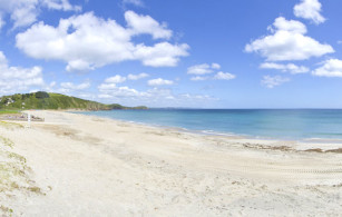 Pentewan Sands beach near St Austell in Cornwall