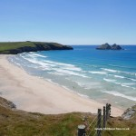 Overlooking Holywell Bay beach from the South West Coast Path