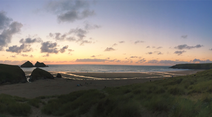Sunset in Cornwall - Holywell Bay Beach Newquay Cornwall