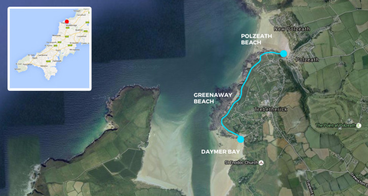 Map of our coastal walk from Polzeath to Daymer Bay in North Cornwall