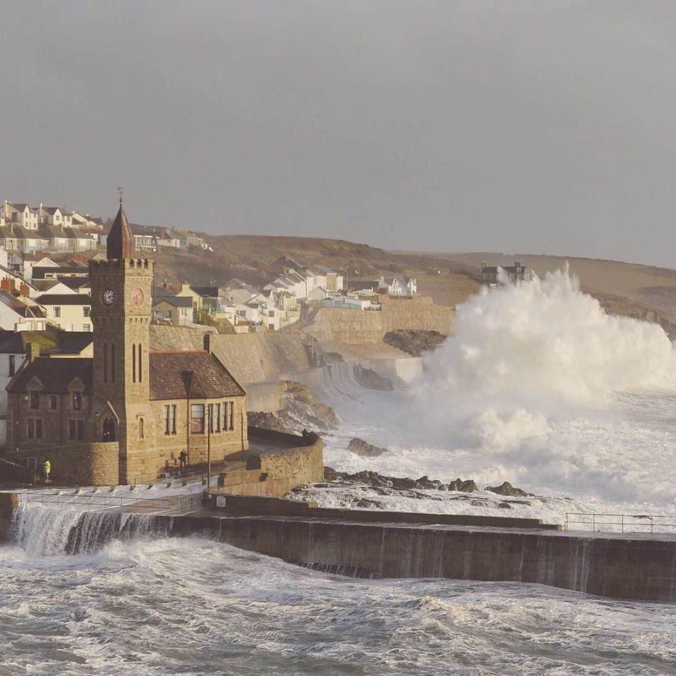 Cornwall Photos - Porthleven harbour during storm Imogen by Kernow Shots