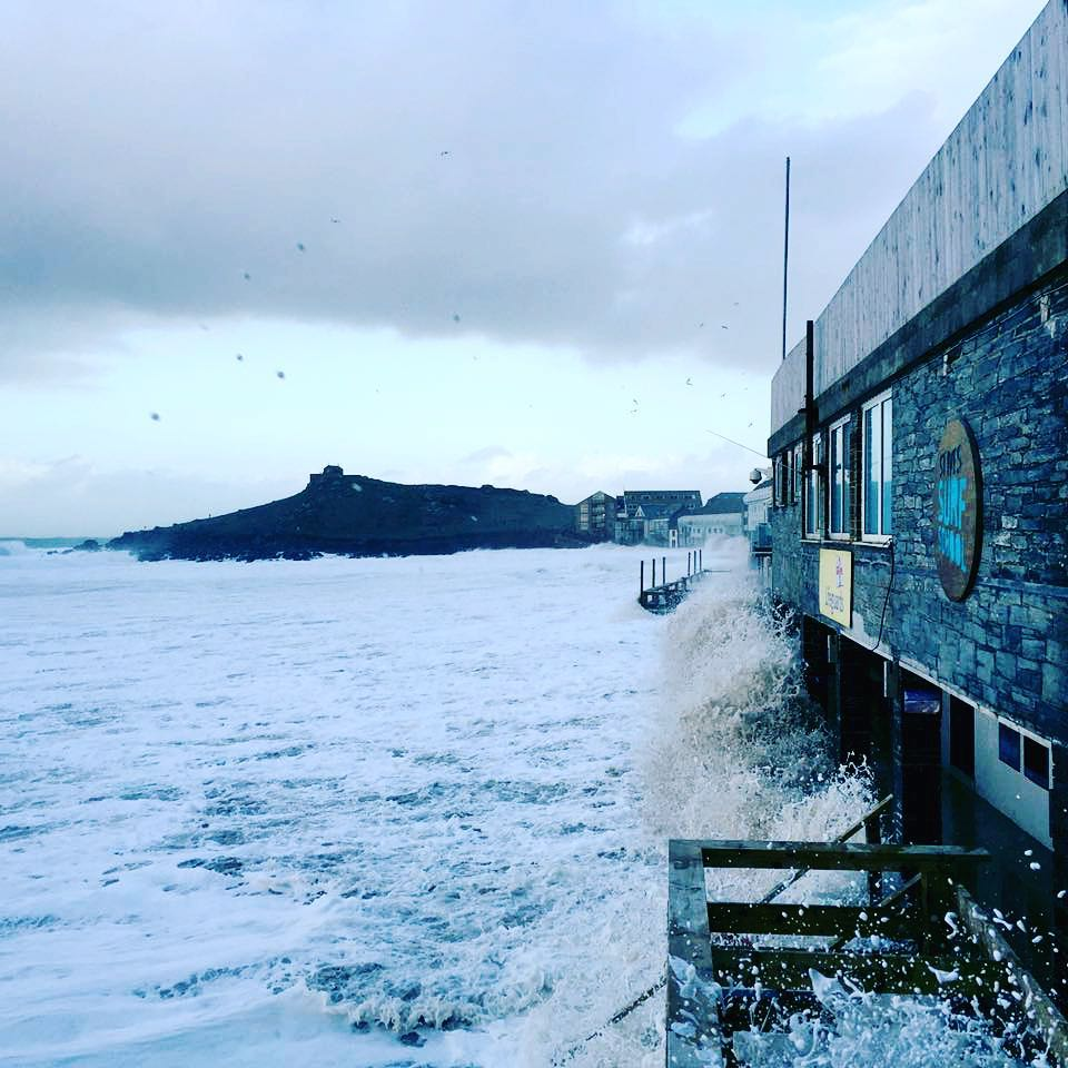 Porthmeor beach in St Ives Cornwall swamped by waves of storm Imogen - photo ©St Ives Surf School
