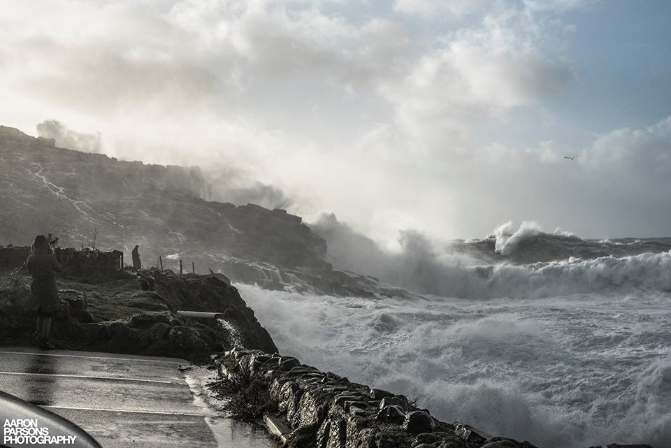 Sennen cove waves crashing storm imogen - Photo © Aaron Parsons Photography