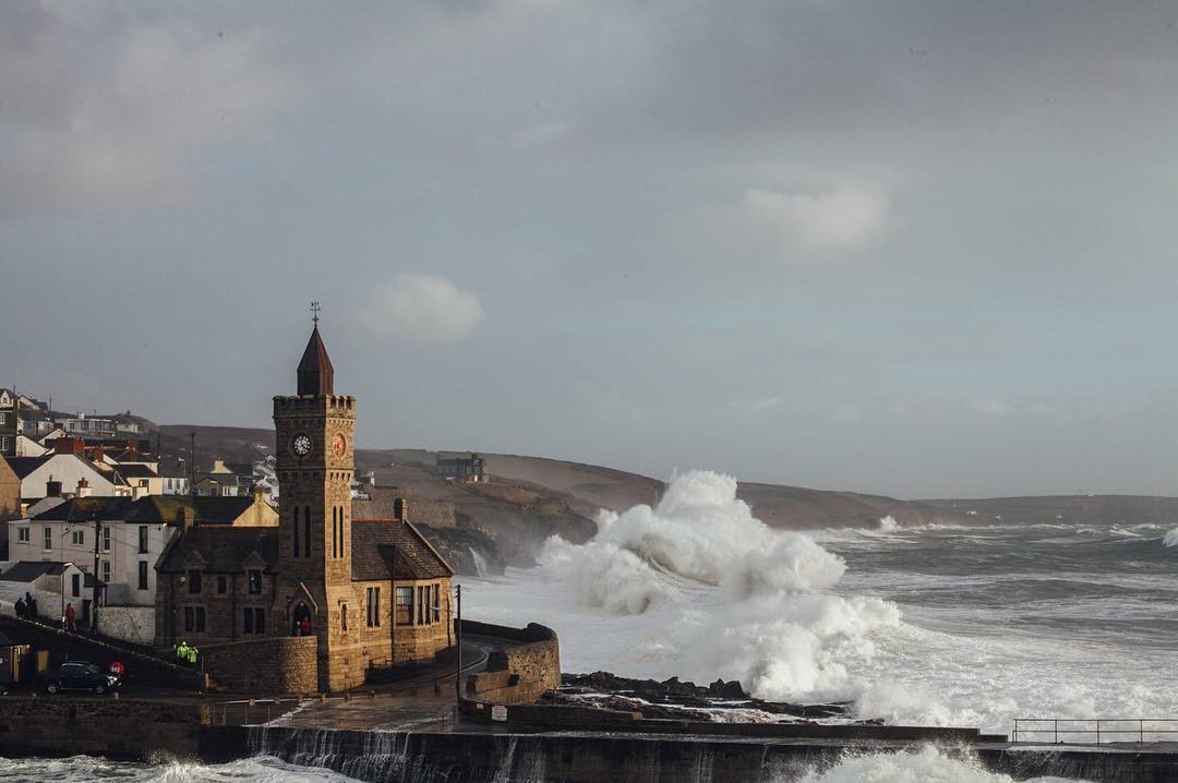 waves hitting Porthleven harbour in Cornwall Photo © Lizzie Churchill