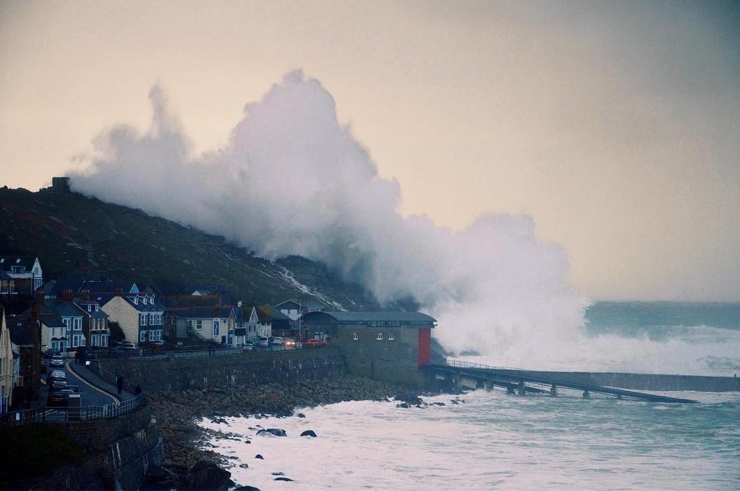 Sennen Cove Cornwall storm Imogen - photo © Becca Knee