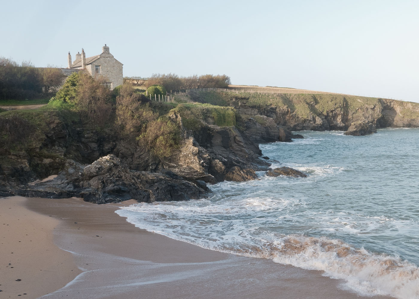 Secluded bay and cottage overlooking Polventon Bay in North Cornwall