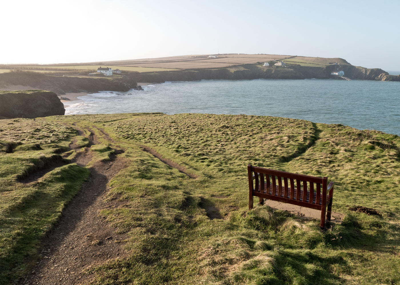 A bench overlooking Polventon Bay