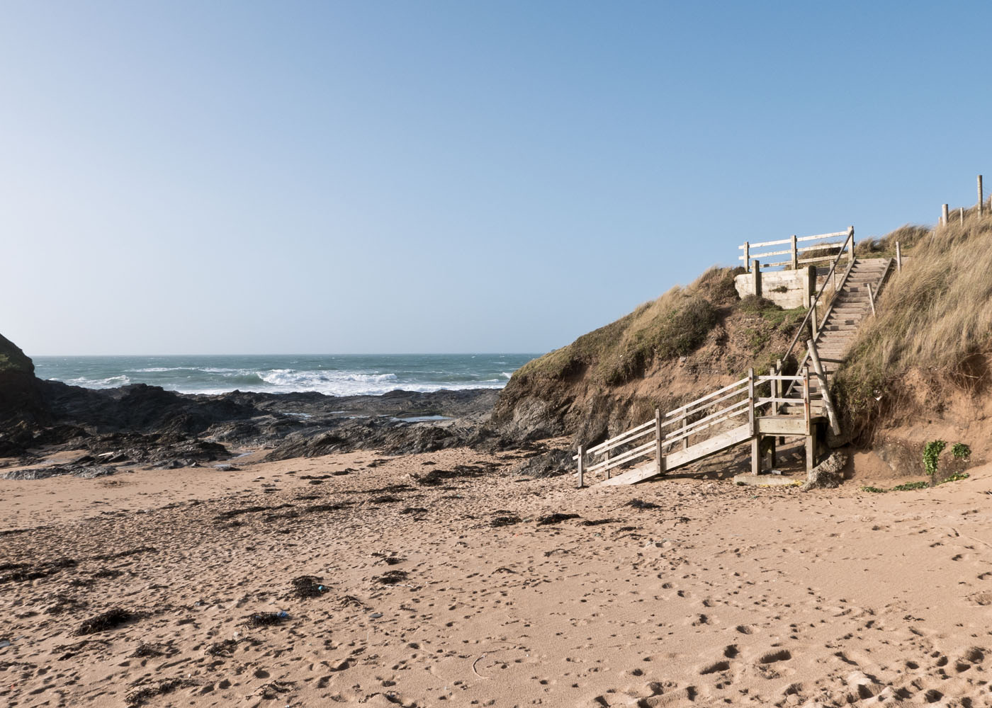 View of Steps from Constantine Bay beach leading to Booby's Bay