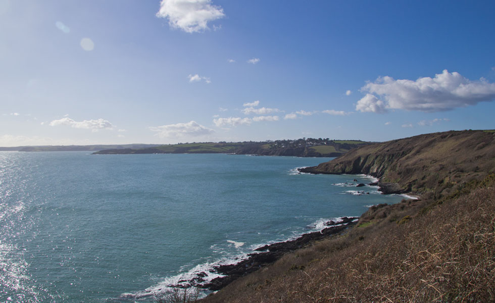 View from the coast path from Maenporth beach to Swanpool