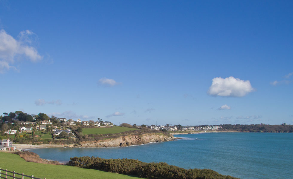 A veiw of Swanpool, Gyllyngvase and Castle beach in Falmouth