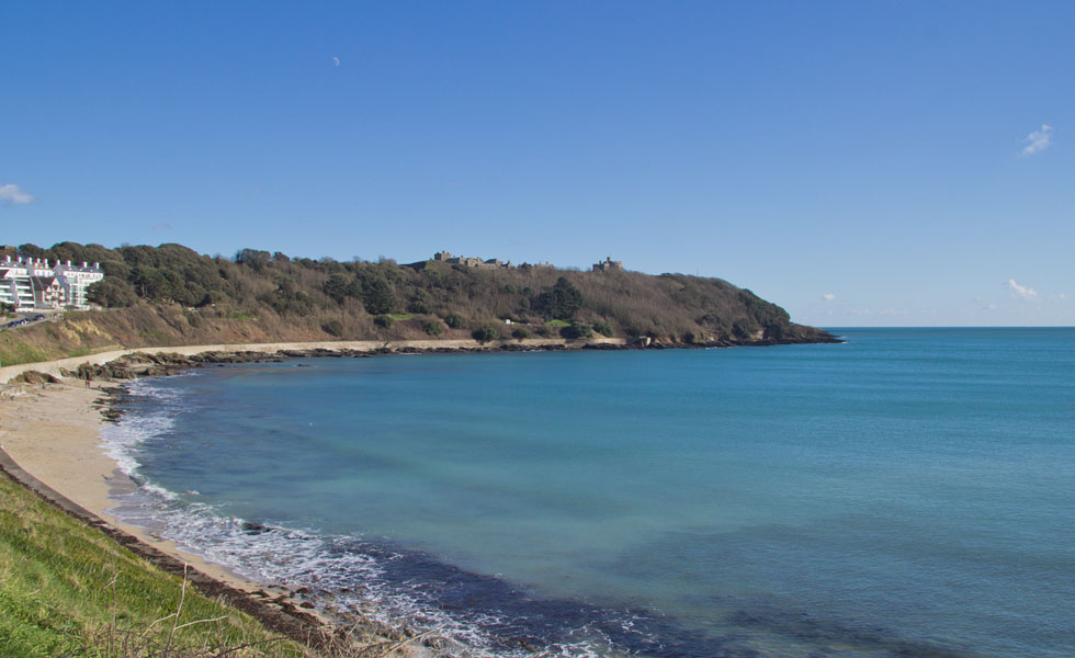 Castle beach and Pendennis Point in Falmouth Cornwall