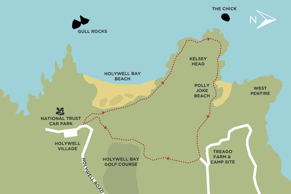 Map of Coastal path walk between Holywell Bay beach and Polly Joke beach in Cornwall