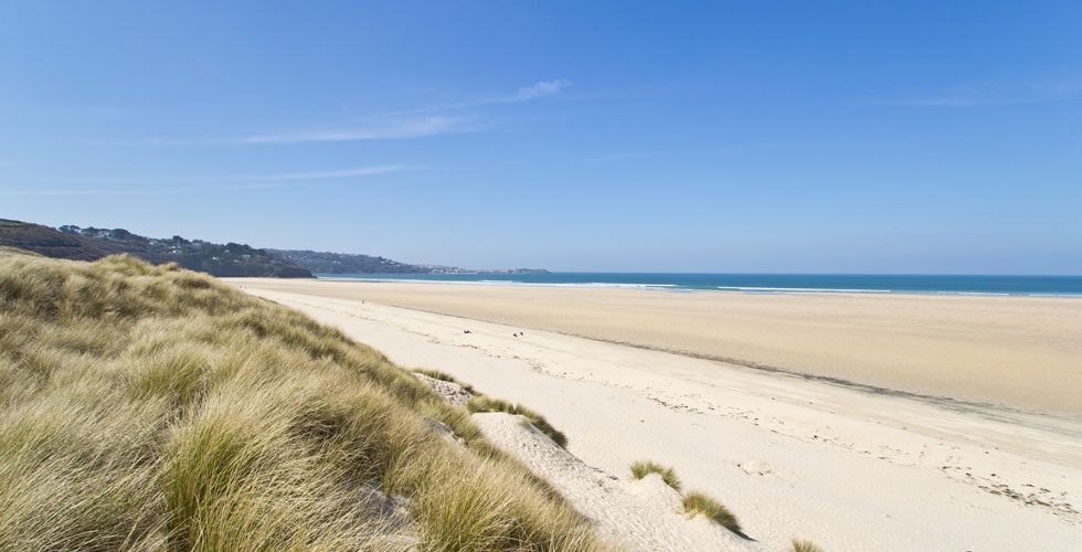 Porth Kidney Sands is a dog friendly beach near St Ives, Cornwall