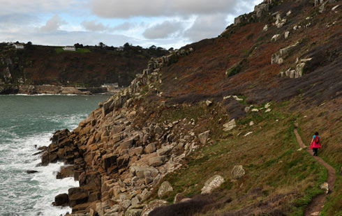 Coastal walk from Mousehole Harbour to Lamorna Cove in West Cornwall