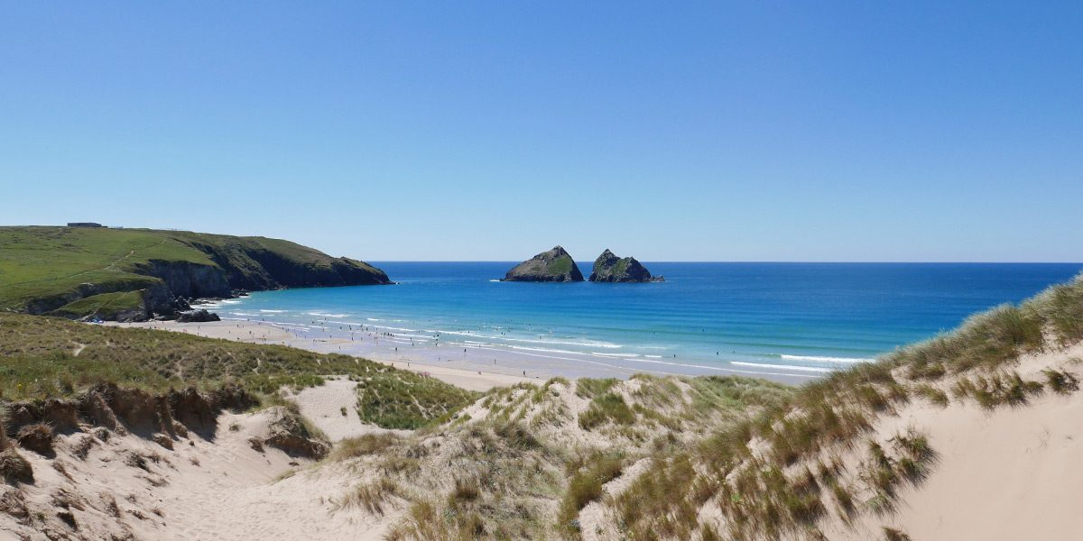 Holywell Bay beach on the outskirts of Newquay Cornwall