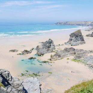 Bedruthan Steps Beach near Newquay in North Cornwall