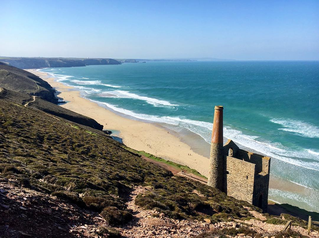 chapel porth beach in Cornwall by beth harris