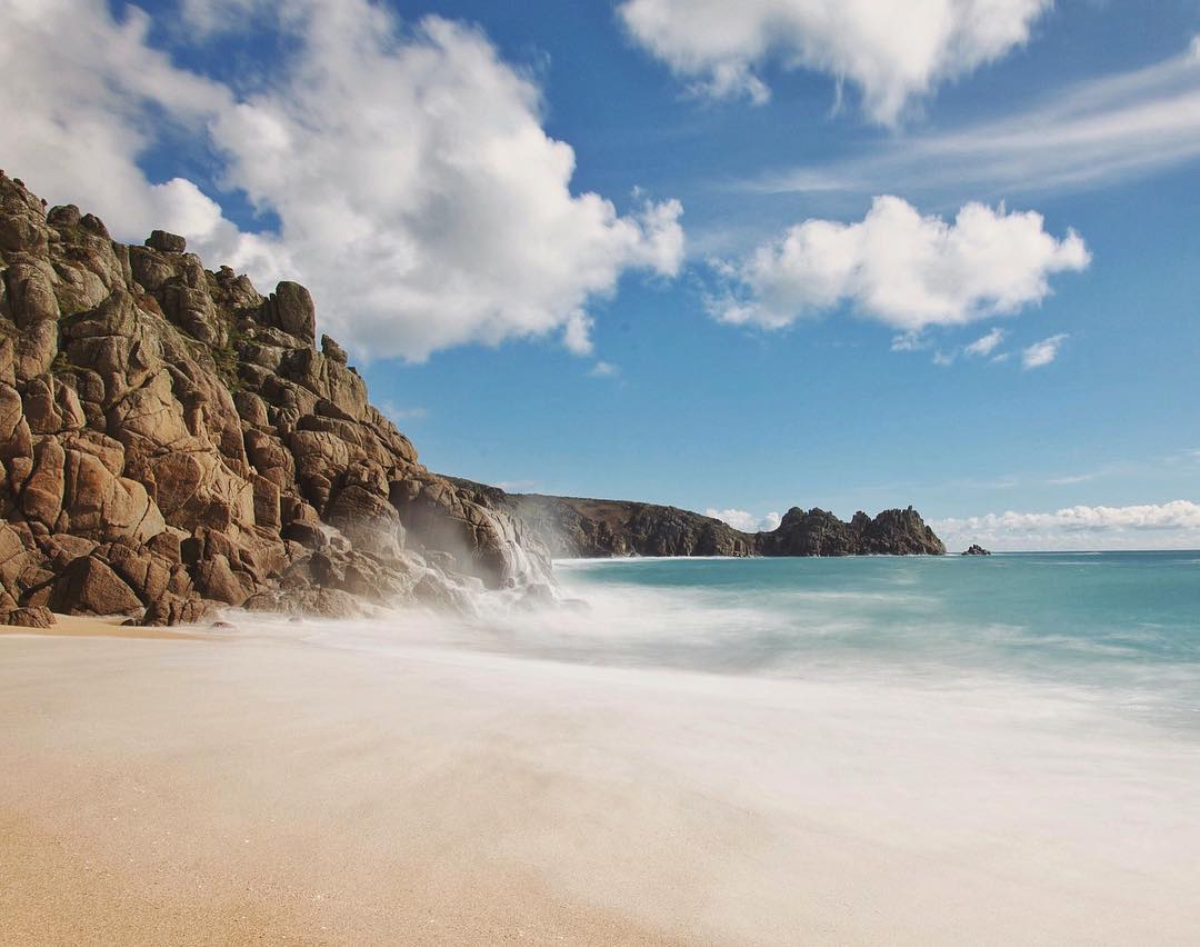 Porthcurno beach in West Cornwall taken by Kernow Shots