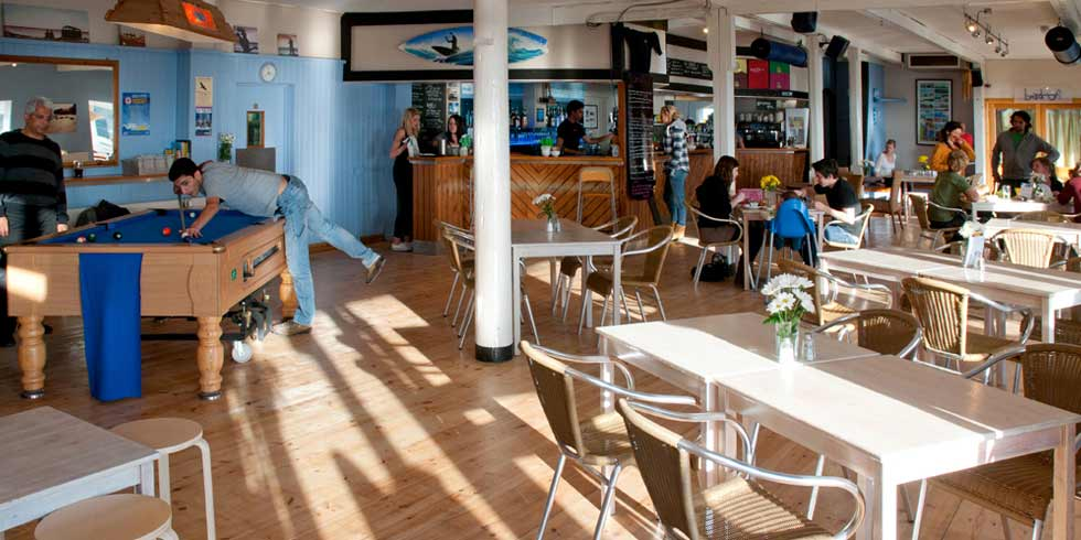 Inside the Blue bar beach cafe in porthtowan beach cornwall