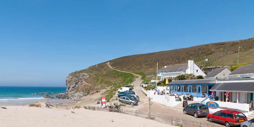View of the blue bar beach cafe and porthtowan beach in cornwall