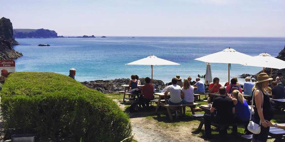 Outdoor seating on Kynance Cove Cafe on the Lizard Peninsula in South Cornwall