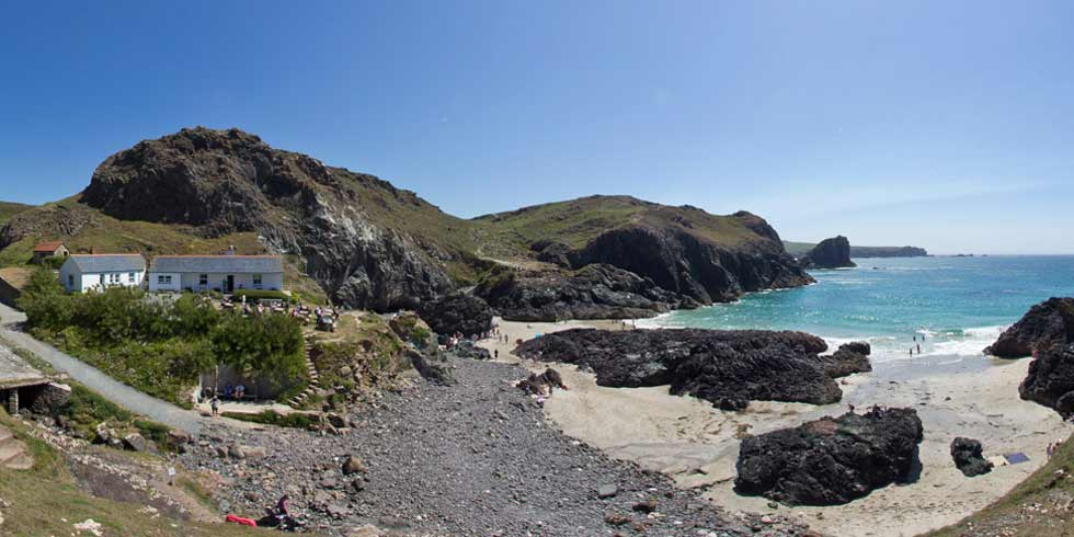 View of Kynance Cove and Kynace Cove Cafe in South West Cornwall