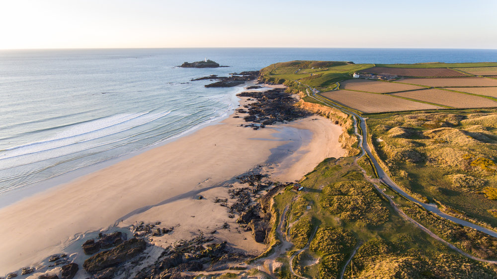 Aerial photo of Godrevy beach during sunset in West Cornwall