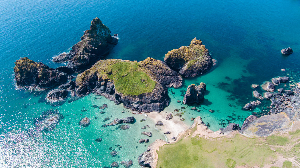 Aerial photo of Kynance Cove on the Lizard Peninsula in South West Cornwall. © Dan Pattison