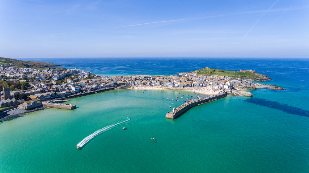 Aerial photo of the coastal town of St ives in West Cornwall. © Dan Pattison
