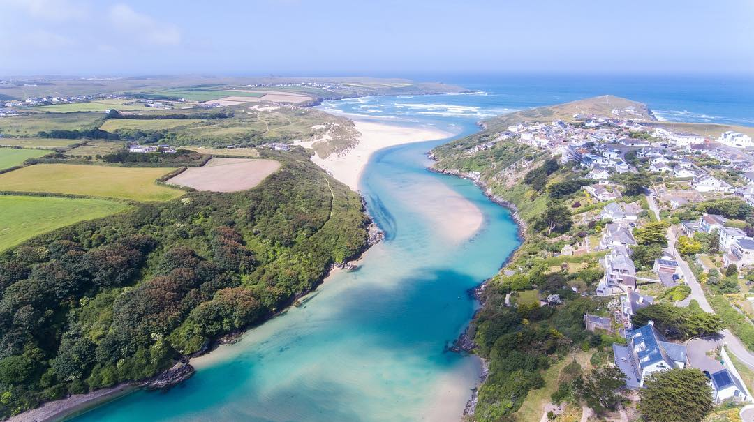 Aerial photo overlooking the river Gannel near newquay with crantock beach on the left