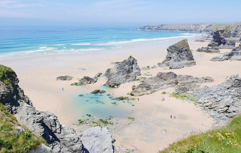 Cornwall beaches Bedruthan Steps Newquay