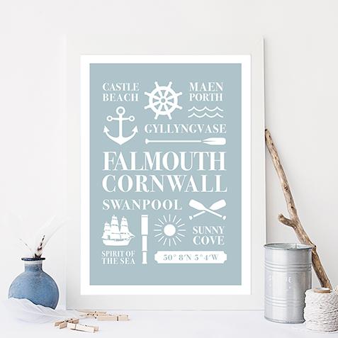 Falmouth Cornwall Nautical Seaside Print