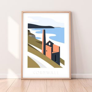 Cornwall Travel Poster of Wheal Coates Tin Mine overlooking Chapel Porth Beach, St Agnes