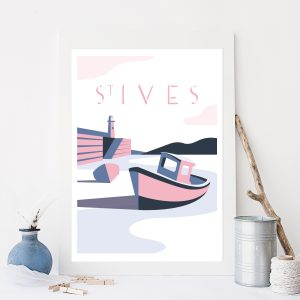 Cornwall Travel print of St Ives Harbour