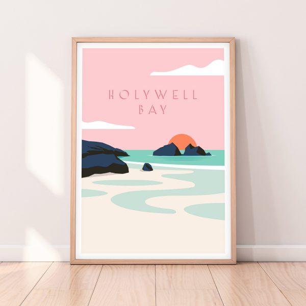 Cornwall Travel Print of Holywell Bay Beach near Newquay in North Cornwall