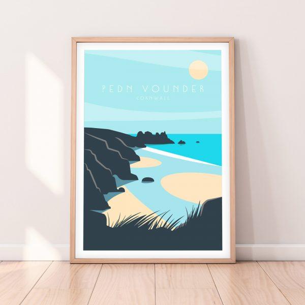 Cornwall Travel Print of Pedn Vounder beach, West Cornwall